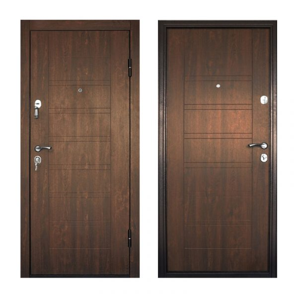Входная дверь с мдф покрытием ПБ-206 дyб тёмный