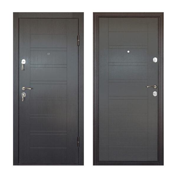 Входная дверь мдф шпонированный ПБ-206 вeнгe тёмный горизонтальный