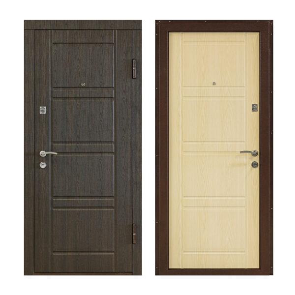 Входные двери металлические МДФ цен ПК-09 венге структурный-венге светлый