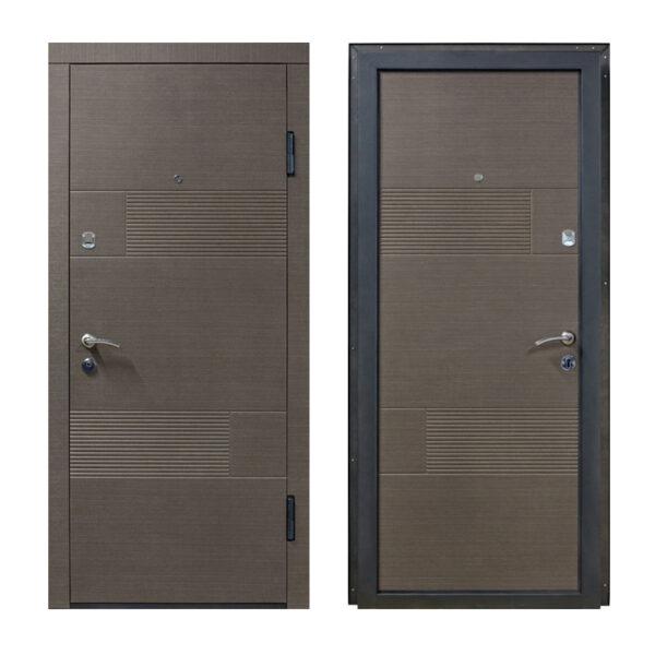 Входные двери мдф красивые ПО-58 венге серый горизонтальный