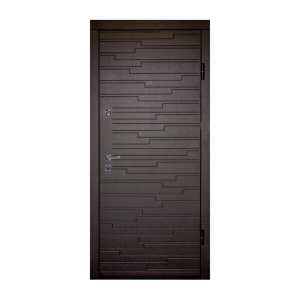 Входные двери мдф шпонированный ПO-66 Q венге горизонтальный тёмный