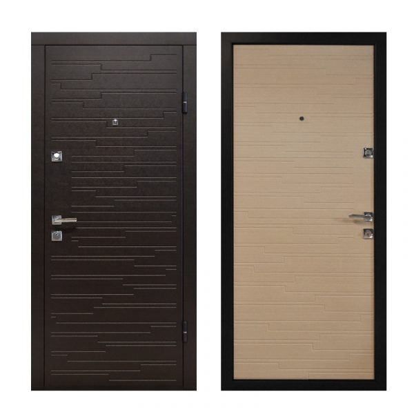 Купить двери входные в частный дом ПO-66 Q венге горизонтальный тёмный-венге горизонтальный светлый