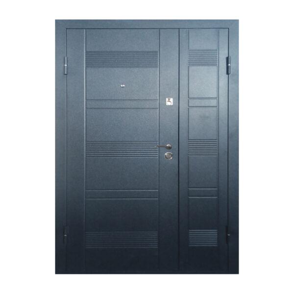 Двери двухстворчатые входные ПУ-132 венге серый горизонтальный