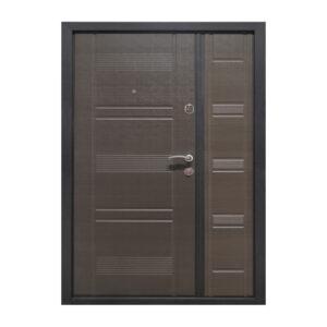 Двойные входные двери в дом ПУ-132 венге серый горизонтальный