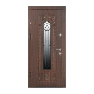 Входная дверь в дом с МДФ ПK-139+ V дуб тёмный