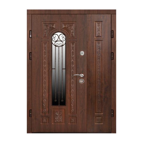 Двустворчатая дверь входная МДФ ПK-139+ V дуб тёмный