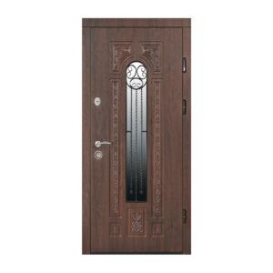 Входная дверь с МДФ в частный дом ПK-139+ V дуб тёмный