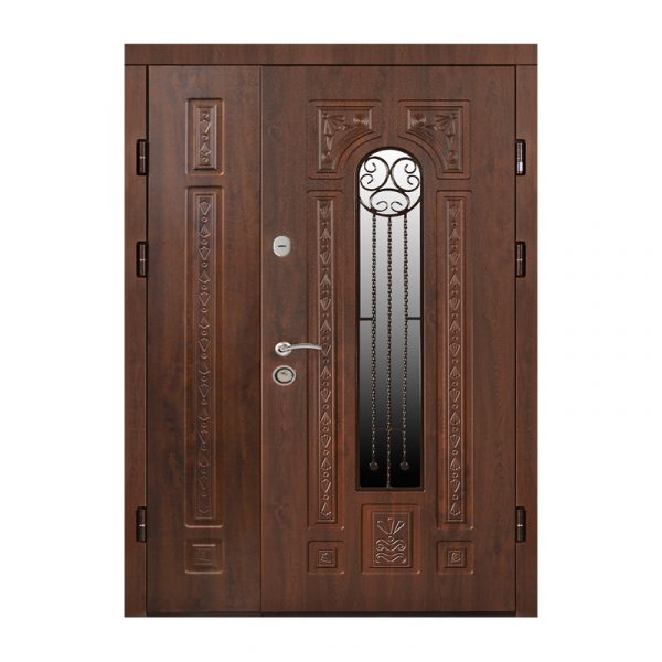 Двустворчатые двери входные МДФ ПK-139+ V дуб тёмный