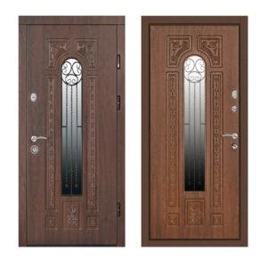 Входные двери в дом МДФ ПK-139+ V дуб тёмный