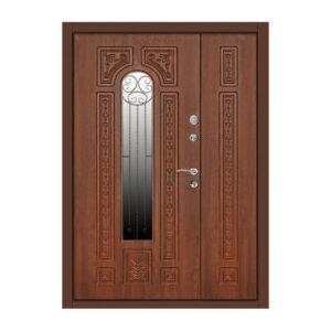 Дверь входная с окном ПK-139+ V дуб тёмный
