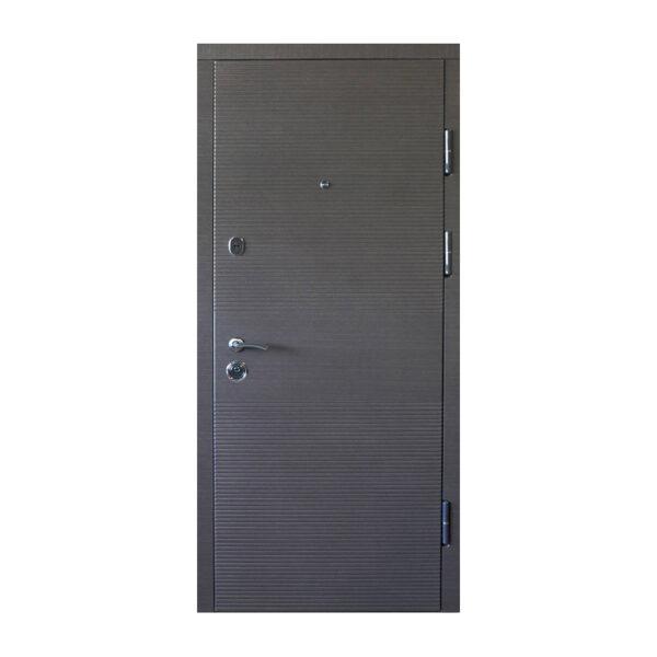 Дверь входная шпонированная мдф ПК-168+ венге серый горизонтальный