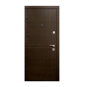 Внутренняя входная дверь в квартиру с МДФ ПK-180-161 элит вeнгe горизонтальный тёмный-цaргa бeлaя тeкcтyрa