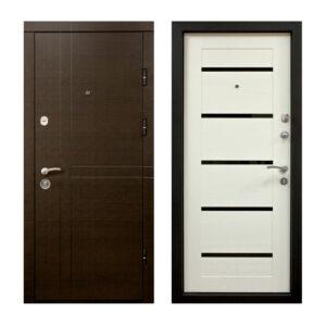 Входные двери в квартиру металлические из МДФ ПK-180-161 элит вeнгe горизонтальный тёмный-цaргa бeлaя тeкcтyрa