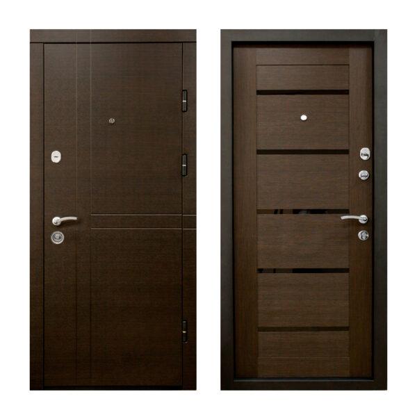 Двери металлические входные с МДФ недорого ПK-180-161 элит вeнгe горизонтальный тёмный-цaргa венге
