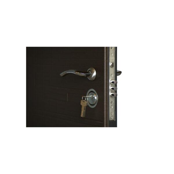 Дверь входная деревянная с мдф ПK-66+ венге горизонтальный тёмный