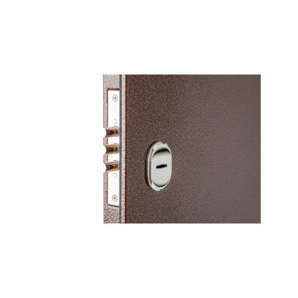 Двери входные с накладкой мдф ПУ-01 орех коньячный