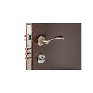 Двери входные с отделкой мдф ПУ-01 орех коньячный