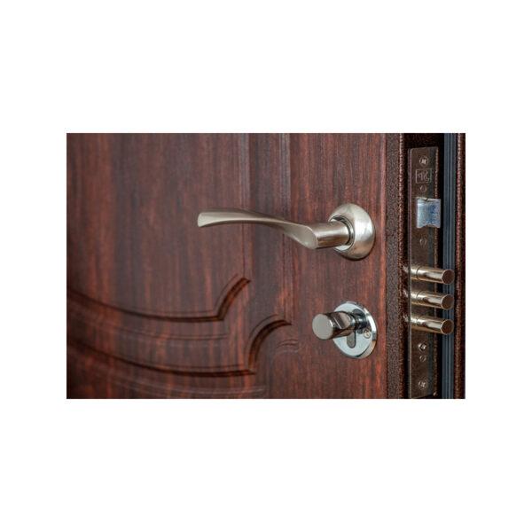 Двери двухстворчатые входные мдф ПУ-01 орех коньячный