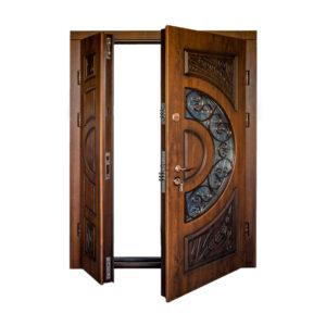 Входная металлическая дверь с МДФ фото ПB-191 V дyб тёмный