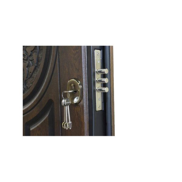 Входные металлические двери с МДФ панелями фото ПB-61 V дyб тёмный