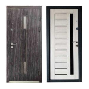 Входная дверь с МДФ беленый дуб M-808 светло-серый-венге светлый